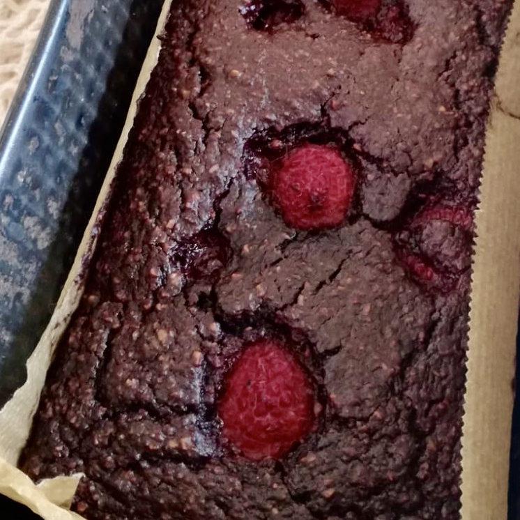 Bizcocho de chocolate y frambuesa